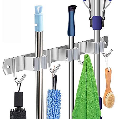 Portascope da Muro, portaoggetti da parete in mocio acciaio inox Porta attrezzi per scopa con 3 rack 4 ganci per cucina, bagno, ufficio, giardino