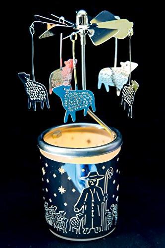 hegro-grosshandel Pyramide/Rondell Silber Teelichtglas im Geschenkkarton Set inkl. Dufthänger (Schaf)