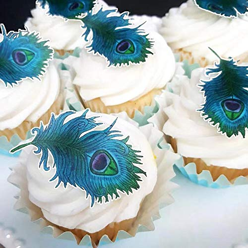 Assorted Edible Peacock Feather ,Wafer Rice Paper Cupcake Toppers/Decorations (24pcs)