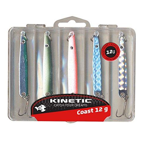 Kinetic 5er Multipack, bestehend aus Köderbox und 5 Hornhecht- und Meerforellen-Blinkern, verfügbar in 4 Gewichtklassen (16g)