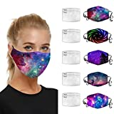 Womens Face Bandanas with Washable and Reusable, Unisex Comfy Face Health Bandanas Suitable for Cycling or Take a Walk (I,5pcs+10filters)