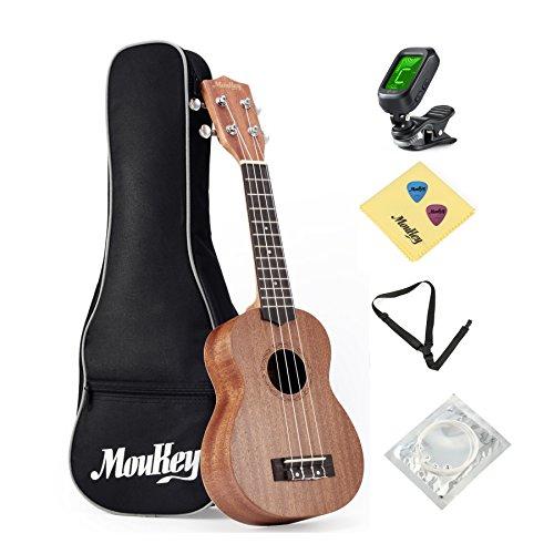 Moukey Soprano Ukulele 21 Inch Mahogany Beginner Kit MUS-2 With Bag Tuner Nylon String Strap