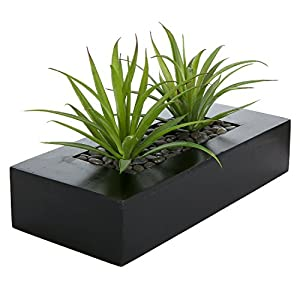 MyGift Artificial Green Grass Plants in Decorative Black Wood Rectangular Planter Pot
