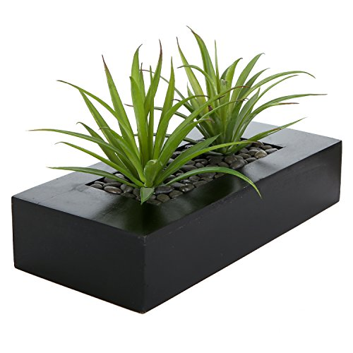 MyGift Artificial Green Grass Plants in Decorative Black Wood Rectangular Planter Pot