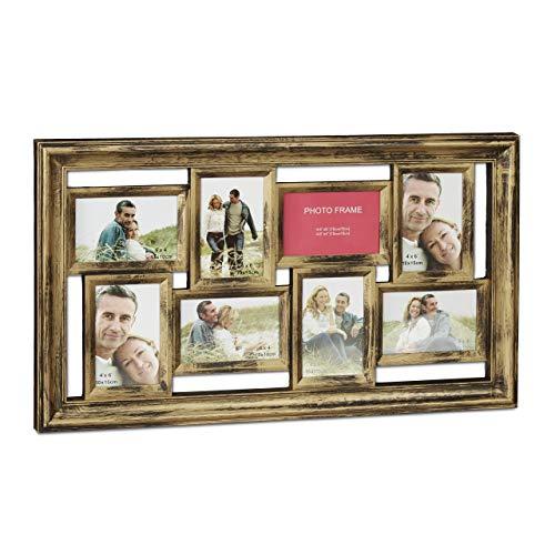 Relaxdays Bilderrahmen, Collage für 8 Bilder, 10x15 cm, Hoch- & Querformat, antik, Fotocollage, HxB 39,5 x 68 cm, gold