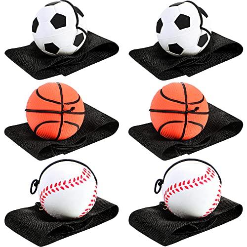 6 Stücke Handgelenk Return Ball Sport Handgelenk Ball Handgelenk Band Ball Gummi Rebound Ball Basketball Baseball und Fußball Armband Spielzeug für Kinder Erwachsene (Mehrfarbig)