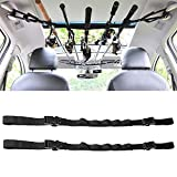 KUDES 2 Pack Vehicle Fishing Rod Rack Holder Adjustable 35 to 44 inch Easy Install Fishing Car Rod Carrier Belt Strap for SUV, Wagons, Van (Black)