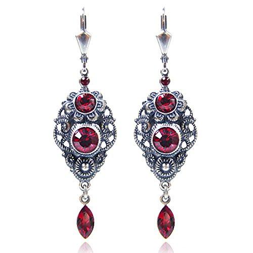 Jugendstil Ohrringe mit Kristallen von Swarovski Silber Rot NOBEL SCHMUCK