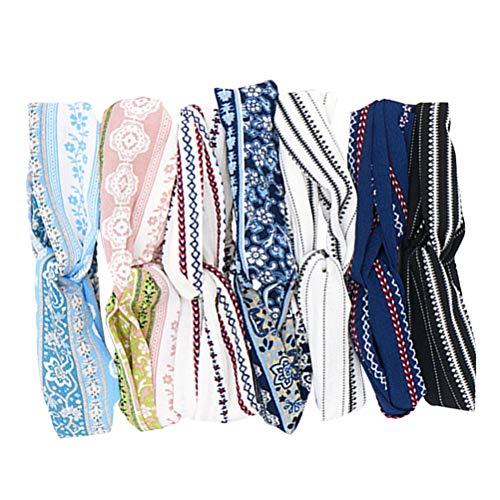 6 stuks kruis knopen hoofdbanden zachte elastische chiffon hoofdband bedrukt haarbanden voor vrouwen (willekeurig patroon)