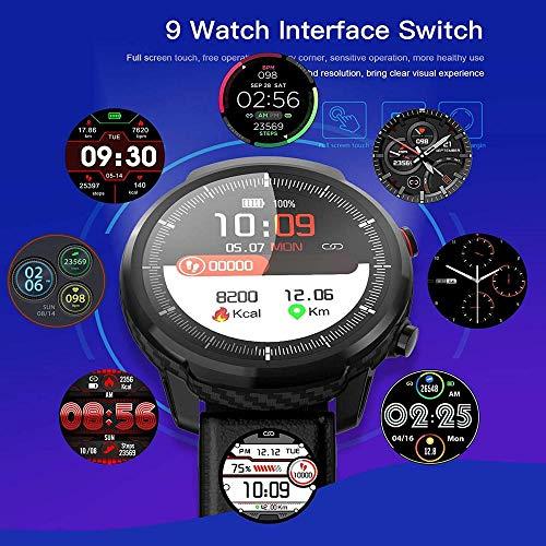 Reloj inteligente con tacto completo para hombres y mujeres, reloj deportivo, monitor de ritmo cardíaco, reloj inteligente para iOS Android, silicona negra