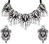 Total Fashion Jewellery Oxidised Silver Ganesh Choker Necklace Set for Women & Girls
