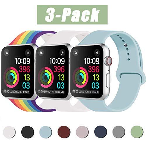 INZAKI Kompatibel mit Apple Watch Armband 38mm 40mm, Classic Sport Ersatzband aus weichem Silikon für Armband für iWatch Serie 5/4/3/2/1, Nike +, Sport, Edition, S/M, Turquoise/Weiß/Pride
