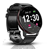 Smart Watch, IP68 Waterproof with 1.3 Inch Full Touch Screen Bluetooth Smartwatch, Fitness &Activity Tracker , Heart Rate Monitor, Sleep Monitor, Pedometer Call Notification for Android & iOS (Black)
