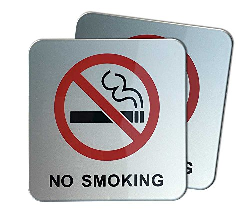dealzEpic - No Smoking Sign | Self Adhesive Acrylic Sign - 3.95x3.95 inches | Set of 2 pcs