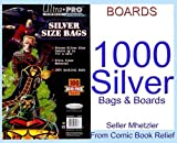 1000 Silver Ultra Pro Bags and 1000 Silver Age Boards for Comic Books
