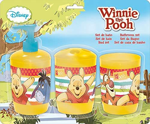 Winnie Pooh Badezimmer Set 3 TLG. Seifenspender + Zahnputzbecher + Zahnbürstenhalter