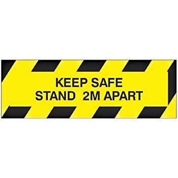 Anti-Slip Social Distance Self-Adhesive Floor Sign//Sticker Removable 10cm by 30cm 6 Feet Apart 2-Meter Distance Sign Keep 2 Meters