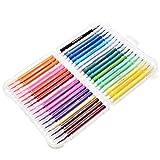 TEET - Juego de 36 marcadores de pincel de acuarela para niños, suaves puntas elásticas, apto para libros de colorear de adultos, cómics, caligrafía