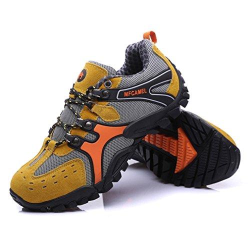 Zapatos de montañismo al Aire Libre Deporte Informal Hombre Botas de Senderismo Zapatos con Cordones para Escalada Montaña Antideslizante y usable Amarillo, 43 Uniquelove