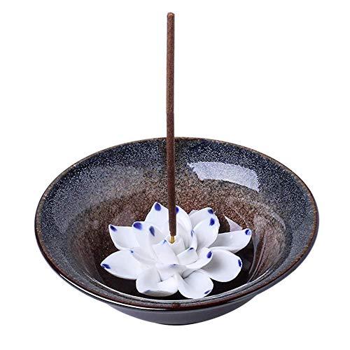 Incense Burner Bowl, Ceramic Handicraft Incense Holder for Sticks, Coil Lotus Ash Catcher Tray 4.62 Inch Gray