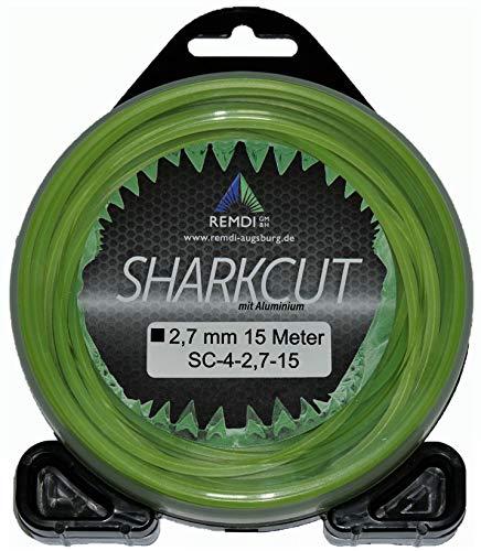 Sharkcut - Hilo profesional de aluminio para desbrozadora, hilo de nailon, 4 cantos, 2,7 mm, diferentes longitudes