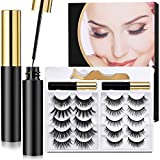 Magnetic Eyelashes with Eyeliner Kit-10 Pairs Magnetic Eyelashes and 2 Tubes of Magnetic Eyeliner Kit with Tweezers- Natural Look & Reusable False lashes -No Glue Need
