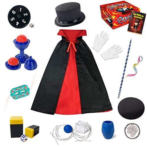 Magic Kit for Kids - Magic Tricks Games for Girls & Boys, Magician Pretend to Play Dress Up Set with Magic Wand & More Magic Tricks, Instruction Manual, Easy Magic Tricks Best Gift for Beginners