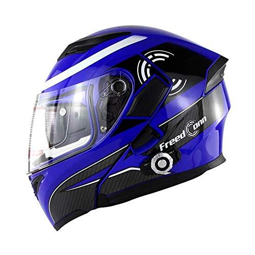 Motorhelm, bluetooth, multifunctionele helm, dubbele lens, anti-condens-helm, met bluetooth-helm, vier seizoenen, flip-helm, veiligheid voor mannen en vrouwen, geschikt voor het onderwijs Black-XL