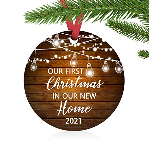 ZUNON Our First Christmas in Our New Home Christmas Ornaments 2021 Our First Christmas New Home Decoration 3' Ornament (Brown New Home)