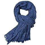 Gysad Diseño simple Bufandas hombre Suave y cómodo Fulares hombre Primavera, verano, otoño e invierno Bufanda hombre size 200 * 80 cm (Azul marino)