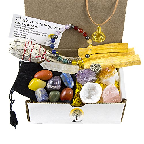 White Sage, Palo Santo Wood &Amp; Crystal Healing Kit (17Pc) ~ Smudge Stick, Palo Santo Sticks, Raw Crystals, Quartz Obelisk, 7 Chakra Stones, +Bracelet &Amp; Spiral Pendant Necklace W Coa &Amp; Info Card