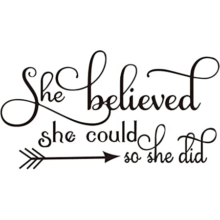 She Believed She Could So She Did Hearts Text Vinyl Wall Glass Sticker Decal