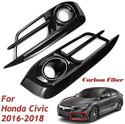 WBXNB Carbon-Faser 1 Paar Vorderheckstoßstange Lampebdeckung Schwarz DIY Gepasst Fit for Honda Civic 10. 2016 2017 2018 Car Styling, Auto Nebelscheinwerfer (Color, Front Grill),Fro.