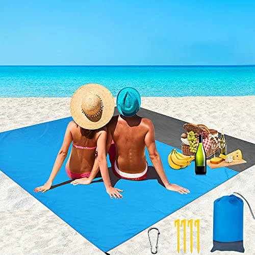 RANJIMA Stranddecke Sandfrei XXL, 210x200cm Picknickdecke Strandtuch Wasserdicht, Ultraleicht Faltbar Strandmatte Waschbar Sandabweisende mit 4 Befestigung Ecken für Strand Camping Ausflüge Picknicks