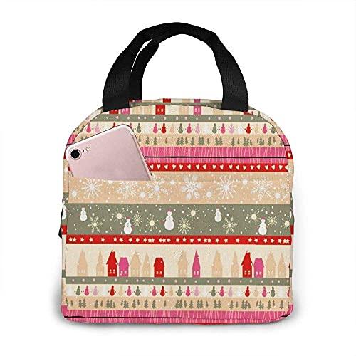 VJSDIUD Bolsa de almuerzo, bolsa de asas, muñeco de nieve navideño, lonchera, bolsa aislada, bolsa de asas, reutilizable, impermeable para hombres, mujeres, viajes de trabajo