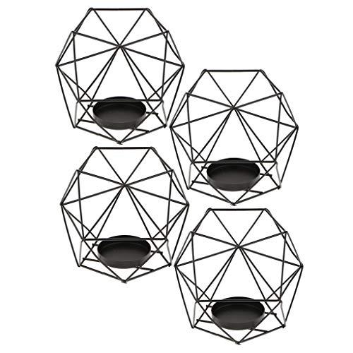 KANULAN 4pcs 3D Geométrica Portavelas Boda De Velas Votivas Vela Portacandelitas Negro candelabros Decorativos de Velas