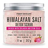 Himalayan Salt Body Scrub with Collagen and Stem Cells - Natural Exfoliating Salt Scrub & Body and Face Souffle helps with Moisturizing Skin, Acne, Cellulite, Dead Skin Scars, Wrinkles (11 oz)