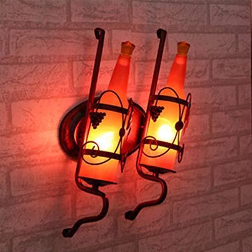 Wandlamp Retro E27 wandlamp binnenwand fles glazen lampenkap wijn muur draaibaar verlichting nachtkastje slaapkamer woonkamer bar cafeteria restaurant decoratieve verlichting antiek 2 Heads Rood