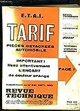 Tarif des Pièces Détachées Automobile.