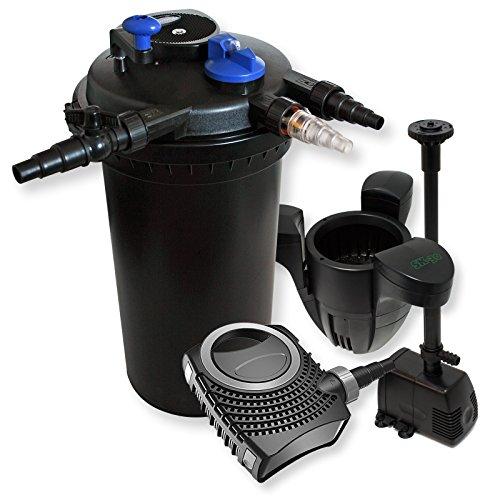 WilTec Kit de Filtration Bassin à Pression 30000l Stérilisateur 70W Pompe éco Fontaine Ecumeur