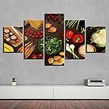 Adoff Decoración de Cocina, Arte de Pared, 5 Piezas, Setas Vegetales, Chile, Patata, Zanahoria, Pint...