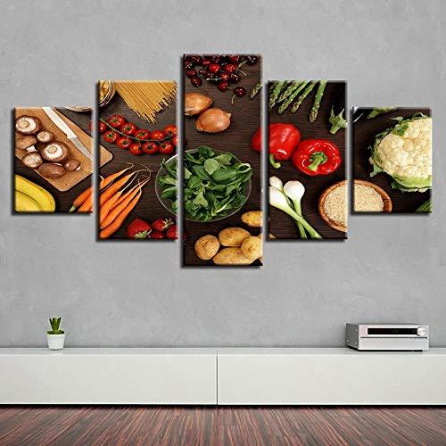 TXFMT Geen frame canvas decoratie schilderij handgemaakte DIY Plantaardige paddestoel peper aardappel wortel voedsel 5 stuk moderne landschap artwork hd foto's schilderijen op canvas muur kunst voor woonkamer slaapkamer de 200*100CM