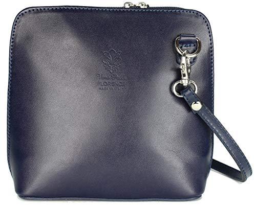 Belli italienische Ledertasche Damen Umhängetasche klein Handtasche Schultertasche Abendtasche blau - 17x16,5x8,5 cm (B x H x T)