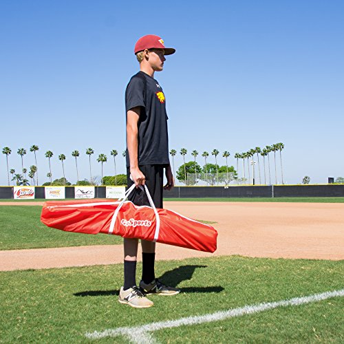 GoSports 7' X 7' Baseball & Softball Practice Hitting & Pitching Net with Bow Frame, Carry Bag and Bonus Strike Zone, Great for All Skill Levels, Regulation
