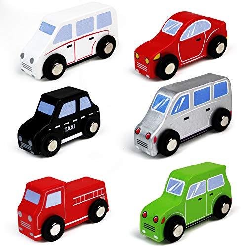 Coches de Madera Vehículos de Juguete Juegos 6 PCS para Niñas Niños Mini Juguetes Clásicos Niños 3 4 5 6 Años
