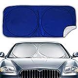 Big Hippo Auto Sonnenschutz für Frontscheiben, Sonnenschutz Auto für Windschutzscheibe, Sonnenblende Auto Frontscheibe für UV Schutz, Flexible Größe für Auto, SUV, LKW, Sliver