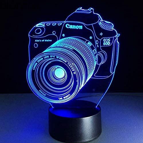 Luz De Ilusión 3D Luz De Noche 3Dled Lámpara De Noche Táctil De 7 Colores Dormitorio Art Deco Luz De Noche Cámara De Regalo De Cumpleaños Para Niños