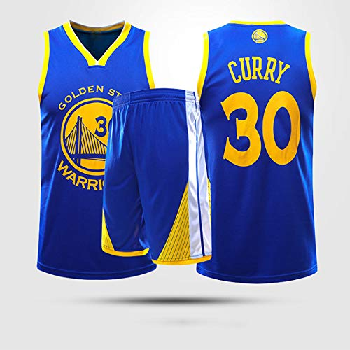 YZQ Uniformes De Baloncesto para Niños, Golden State Warriors # 30 Stephen Curry Camisetas De Baloncesto De La NBA Chalecos Transpirables Sueltos Camisetas Tops Casuales + Pantalones Cortos