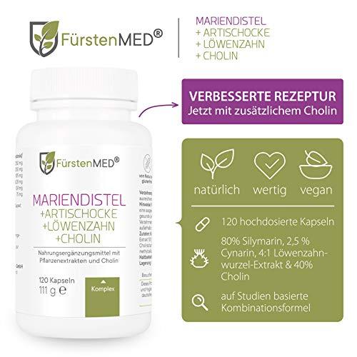 FürstenMED® Mariendistel Artischocke Löwenzahn & Cholin - Leber Komplex Hochdosiert mit 80% Silymarin - 120 Vegane Kapseln - Laborgeprüft & Ohne Zusatzstoffe