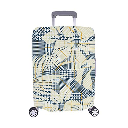 Hounds Tooth Plaid With Abstract Hibiscus Flowers Pattern Spandex Trolley Case Travel Luggage Protector Suitcase Cover 28.5 X 20.5 Inch